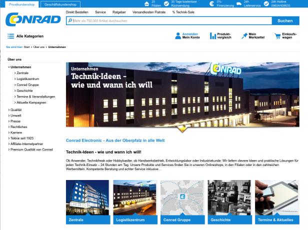 Screenshot Info-Bereich Webshop Conrad.de