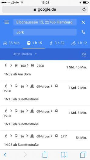 Auch bei Google Maps ÖPNV-Verbindungen