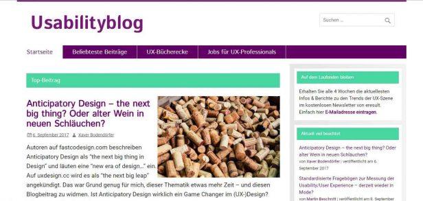 Top Beitrag auf der Usabilityblog-Seite