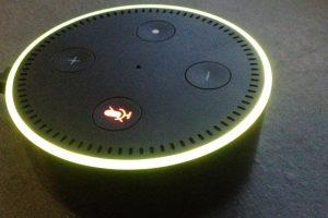 Zu sehen ist ein eingeschalteter Alexa Echo.