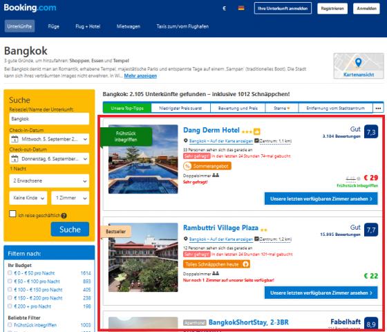 Screenshot booking.con als Beispiel für Listenelemente